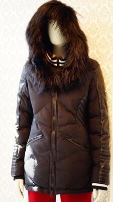 Black and Black Leather real Fur Oxygen winter jacket