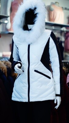 Oxygen real fur white and black leather Winter Jacket