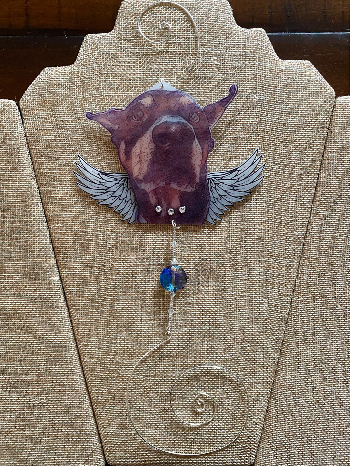 Doberman Pincher Suncatcher with Wings