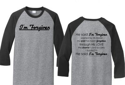 I'm Forgiven Baseball T-shirt