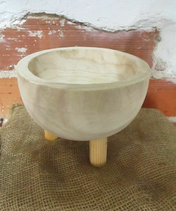 Carved Wood Bowl On Tripod Legs