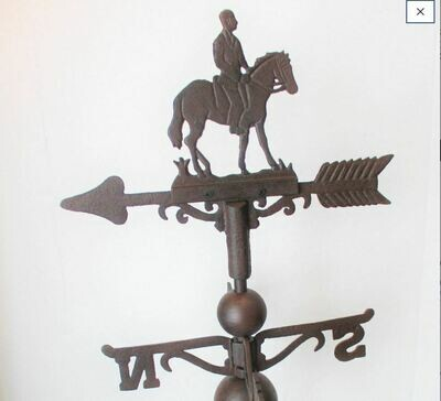 CAST IRON HORSE AND RIDER WEATHERVANE WEATHER VANE!