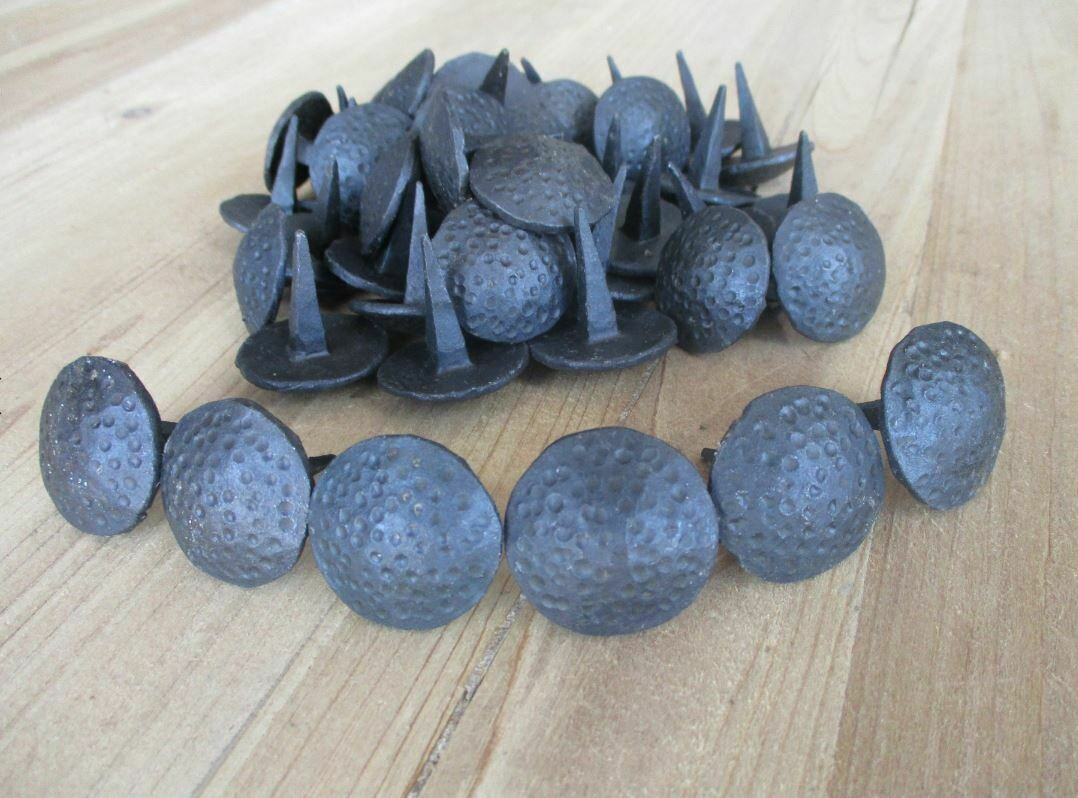 Black Hand Forged Iron Round Dented Clavos 1 1/8