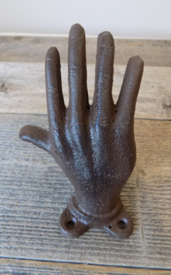 CAST IRON RUSTIC HAND RING HOLDER, BOOK END, HOOK