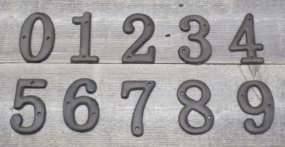 RUSTIC CAST IRON NUMBERS SET 0-9