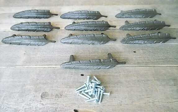 FEATHER DRAWER PULLS WITH MOUNTING SCREWS!