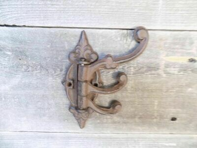 Cast Iron Antique Style SWIVEL Coat Hooks Hat Hook Rack Hall Tree Restoration
