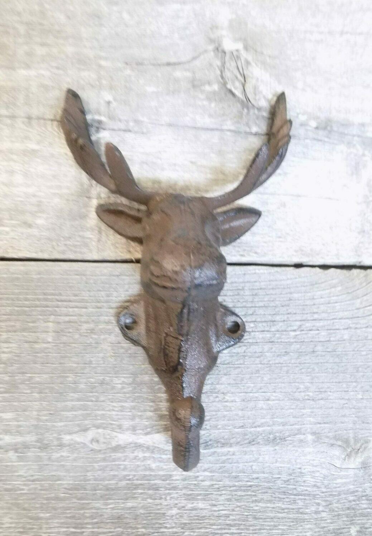 Rustic Elk Deer Moose Head Hooks Cast Iron Coat Hook Rack Restoration Hat