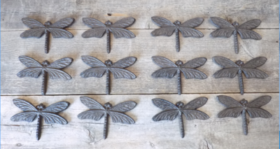 CAST IRON DRAGONFLIES WALL DECOR WITH HANGING RING