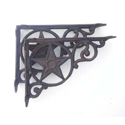 2 CAST IRON RUSTIC STAR SHELF BRACKETS (SOLD IN SETS OF 2)