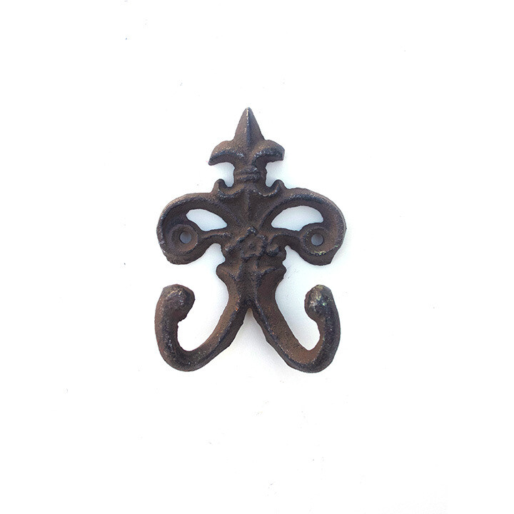 Cast Iron Fleur de Lis Rustic Weathered Double Wall Hook