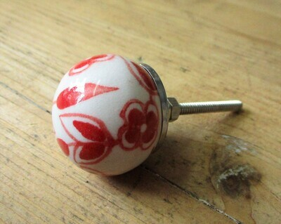 CERAMIC ROUND RED FLOWER AND LEAF KNOBS