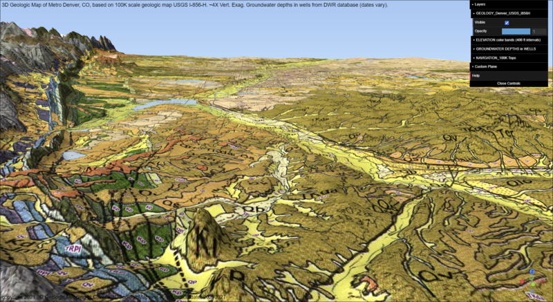 Interactive 3D Geologic Map of Metro Denver (generalized geology, plus groundwater depths, over entire metro area)