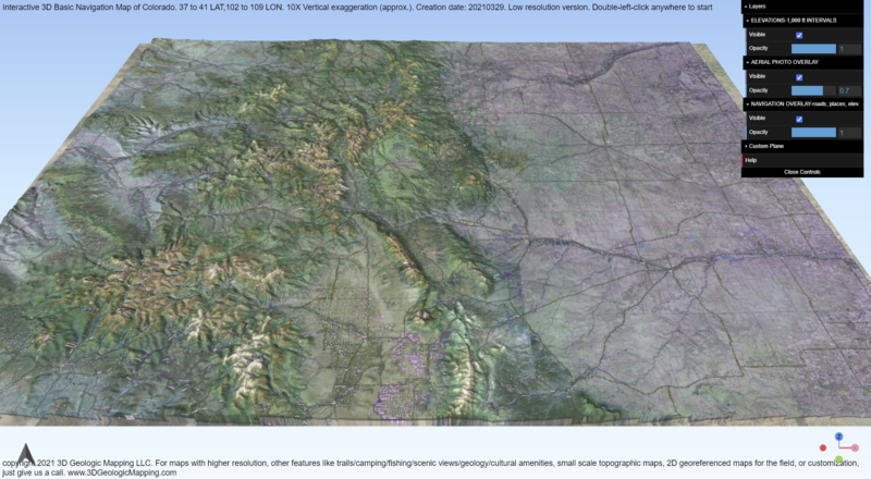 3D Navigation Map of Colorado