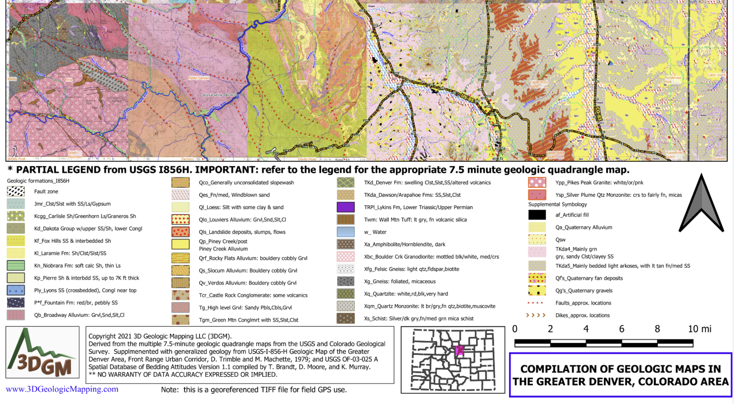 Detailed 2D Geologic Map Compilation for Metro Denver, CO.  Georeferenced map can show your location on the map using a smartphone and the Avenza Maps app (free for up to 3 maps).