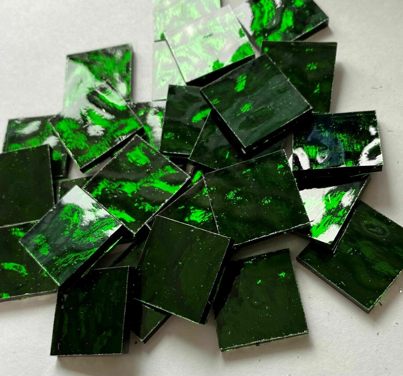 Emerald Green Waves Mirror Tiles