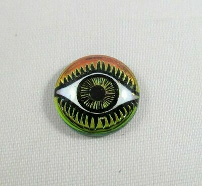 12 mm Eye Cabochon - Chartreuse & Pink
