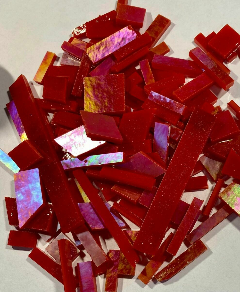 Iridescent Tomato Red Stained Glass Offcuts 1/2 Lb