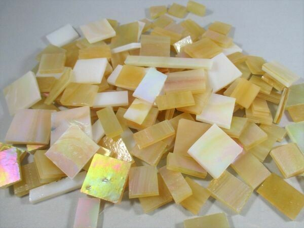 Iridescent Amber Mix Stained Glass Offcuts 1/2 Lb