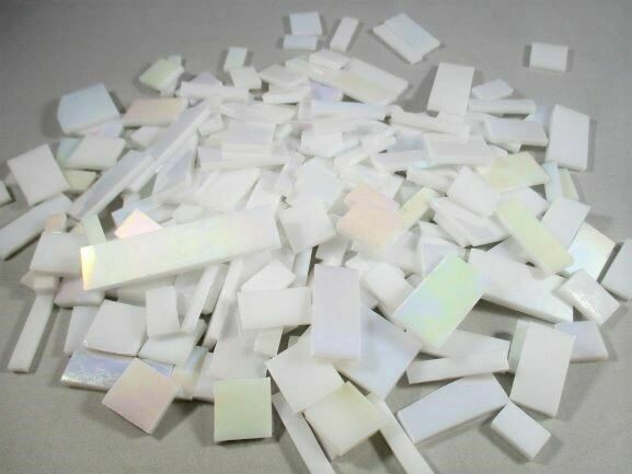 Iridescent White Stained Glass Offcuts 1/2 Lb