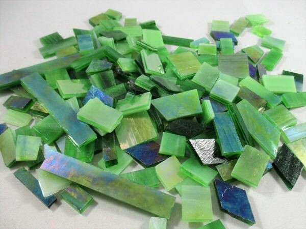 Iridescent Leaf Green Stained Glass Offcuts 1/2 Lb