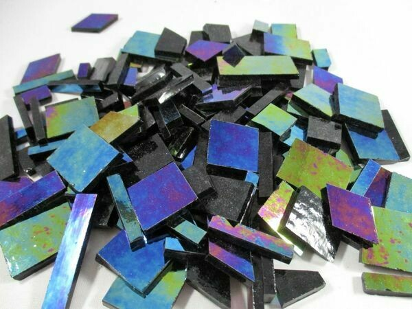 Iridescent Black Stained Glass Offcuts 1/2 Lb