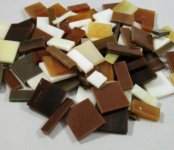 Tan, Amber & Brown Mix Stained Glass Offcuts 1/2 Lb