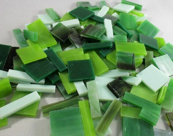 Green Mix Stained Glass Offcuts 1/2 Lb