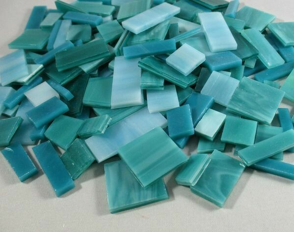 Teal & Turquoise Mix Stained Glass Offcuts 1/2 Lb