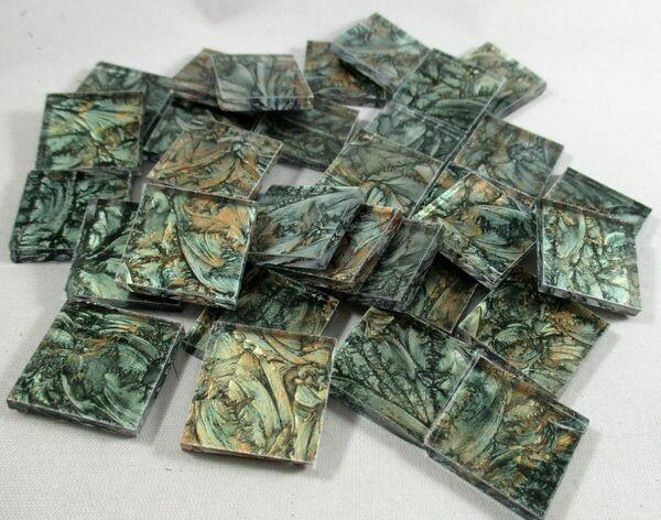 Green & Bronze Van Gogh Tiles