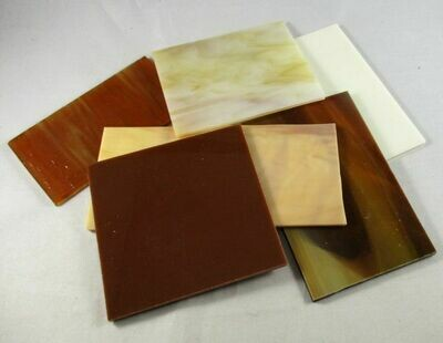 1/2 lb Brown,Amber & Tan Stained Glass Large Pieces