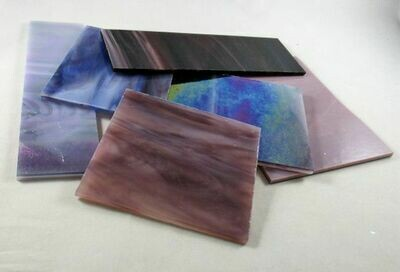 1/2 lb Assorted Purple Stained Glass Large Pieces