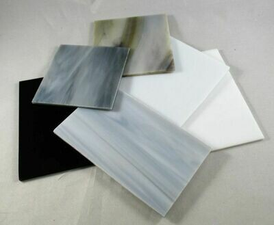 1/2 lb White,Grey & Black Stained Glass Large Pieces