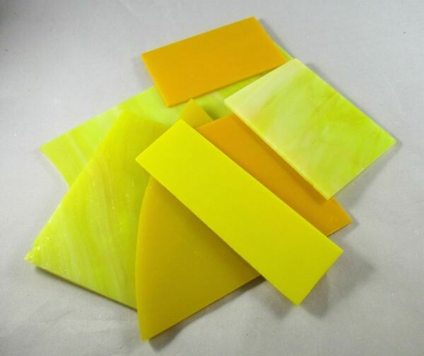 1/2 lb Assorted Yellow Stained Glass Large Pieces