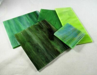 1/2 lb Assorted Green Stained Glass Large Pieces