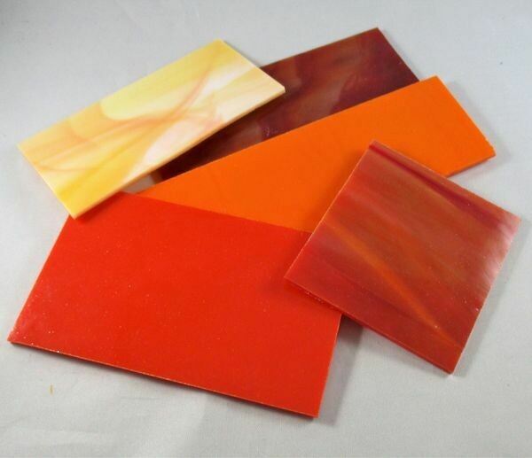 1/2 lb Red & Orange Stained Glass Large Pieces