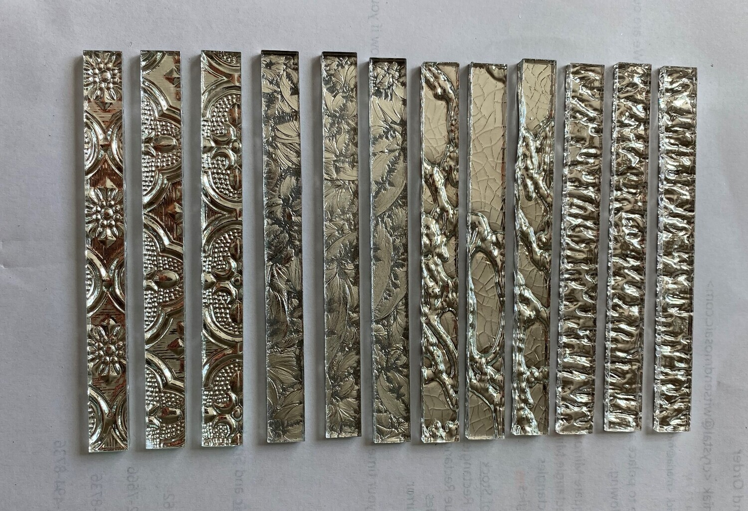 """12 Mixed Patterns Silver Mirror Strips (3/8"""" x 4"""")"""