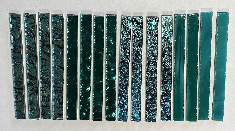 """16 Assorted Teal Sticks (3"""" x 1/4"""")"""
