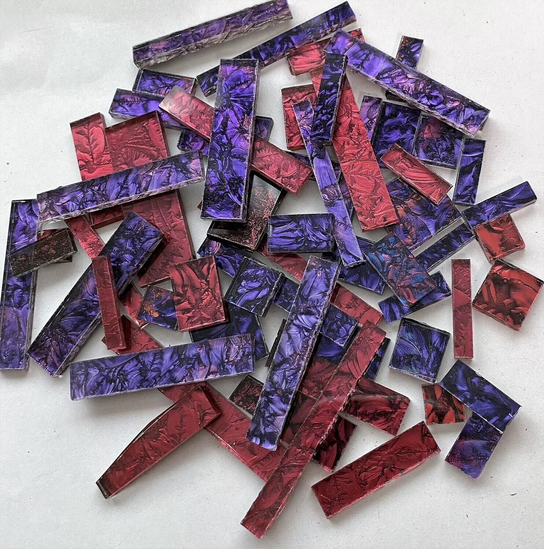 Red & Violet Mix Van Gogh  Glass Offcuts 1/2 Lb