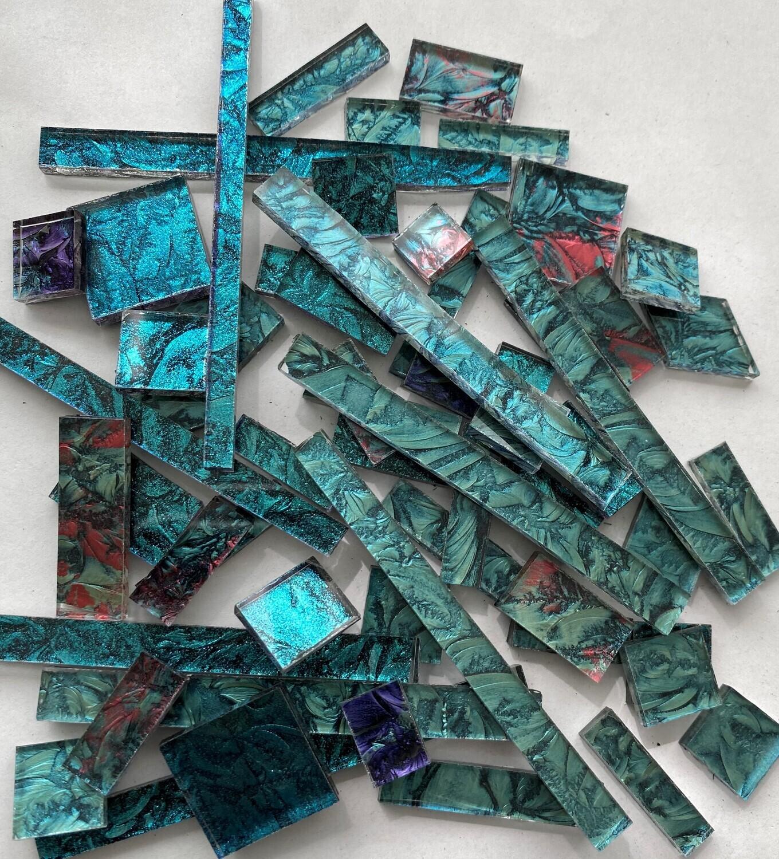 Bluegreen Mix Van Gogh  Glass Offcuts 1/2 Lb