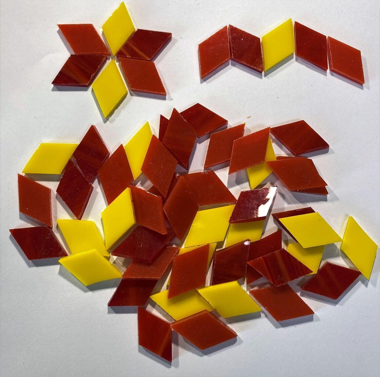50 Red,Orange & Yellow Glass Diamonds