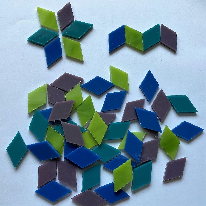 50 Glass Diamonds -Bold Colors