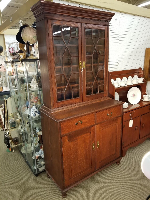 2pc Oak Cabinet