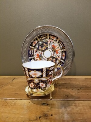 Royal Crown Derby Cup and Saucer- Sterling Rim