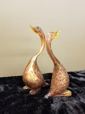 Pair Of Art Glass Murano Birds