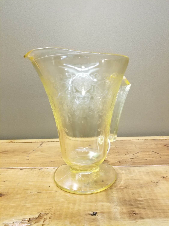 Yellow Depression Glass Pitcher