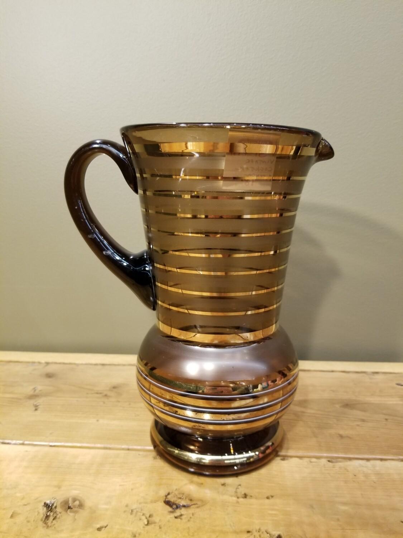 Smoke Glass Pitcher With Gold Stripe