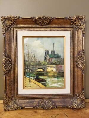 """Oil Painting- Fabiani- """"Spring at the Notre Dame"""""""