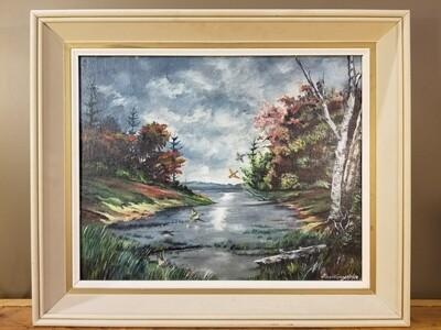 "Oil Painting- ""Black River Washago""- Meddings 1/11/1956"