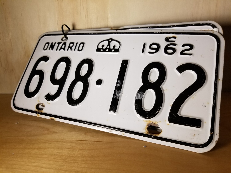 Matching Pair Ontario Truck License Plate- 1962